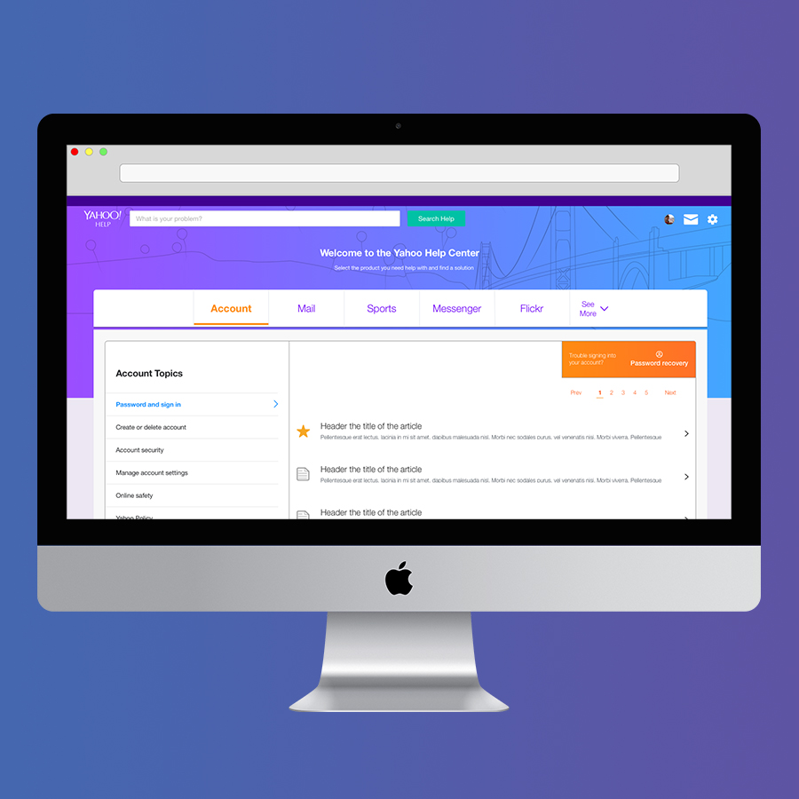 Yahoo! - Research, Prototyping, Visual & UX Design