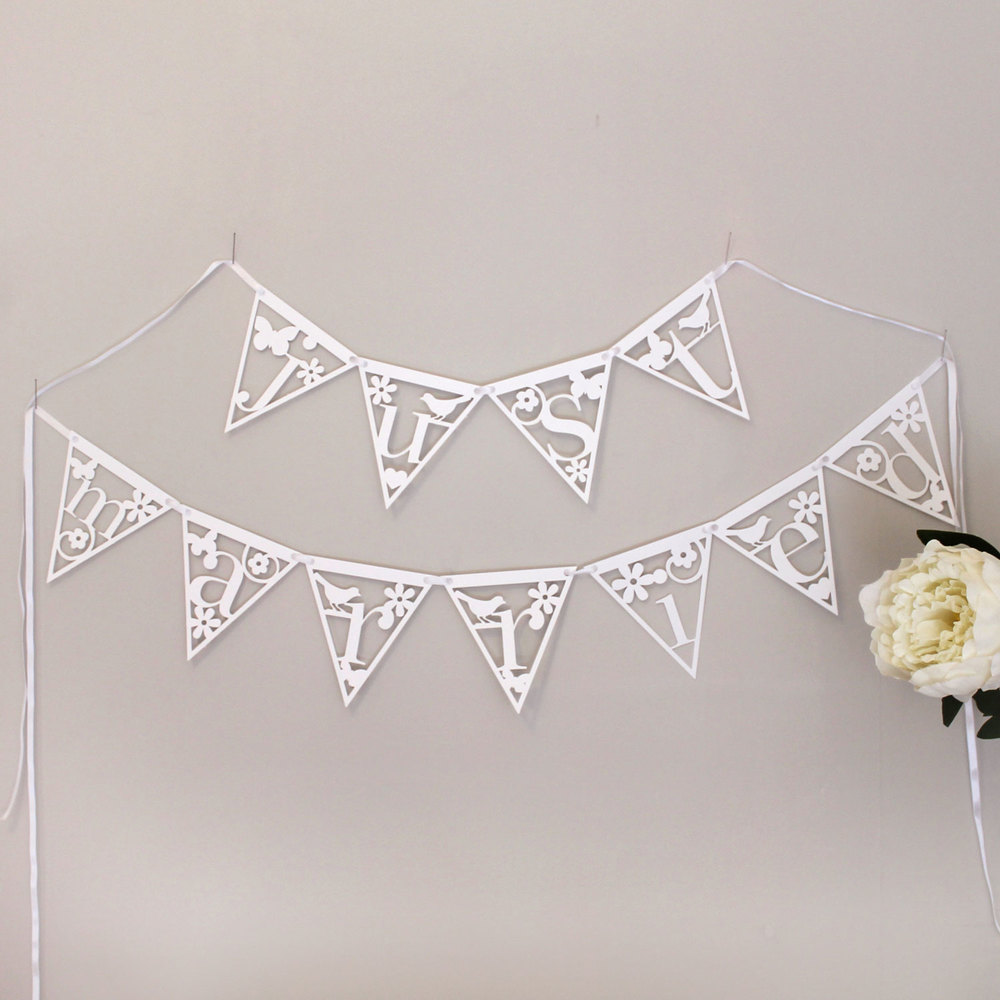 'just married' papercut bunting by Studio Seed