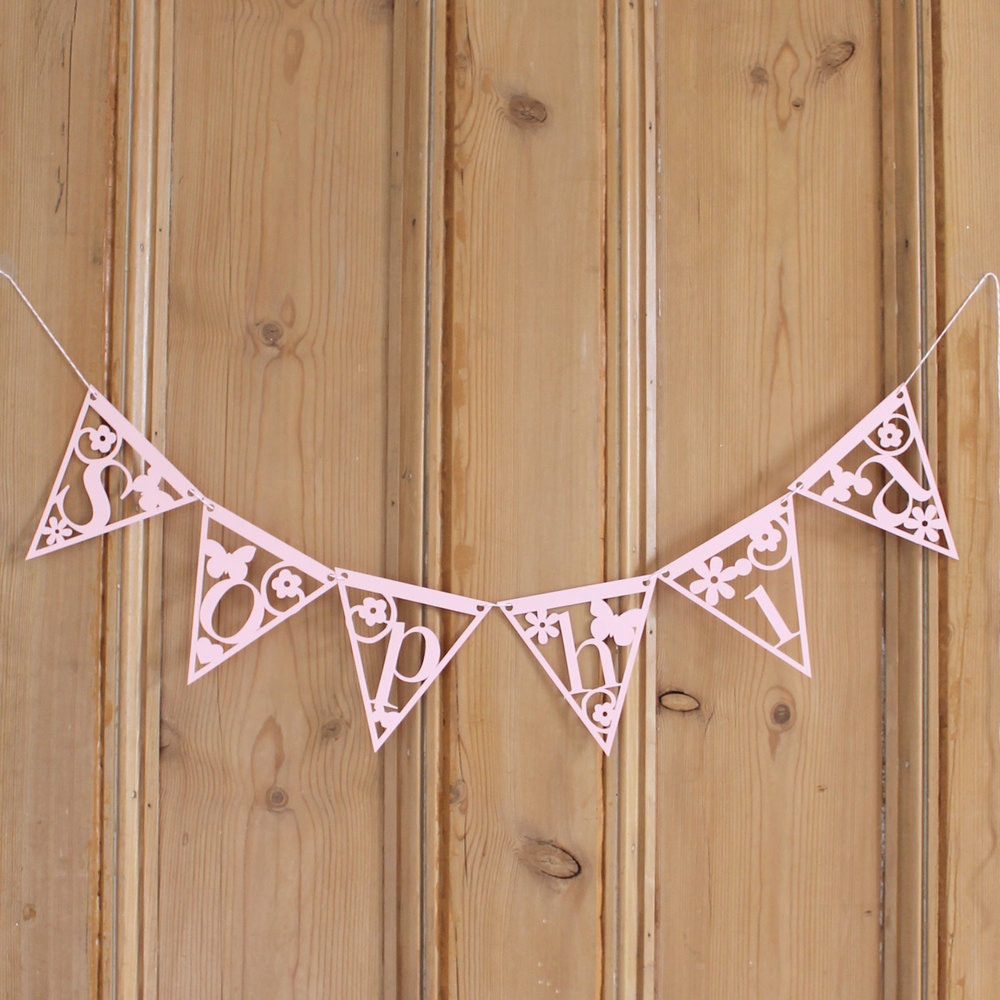 'sophia' personalised papercut bunting from Studio Seed