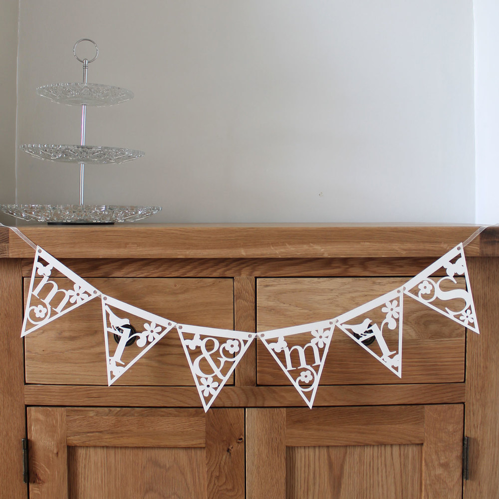 'mr & mrs' papercut bunting from Studio Seed