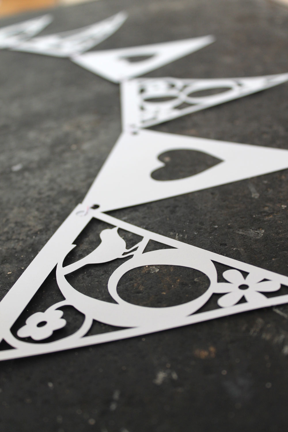 Memorable date papercut bunting from Studio Seed