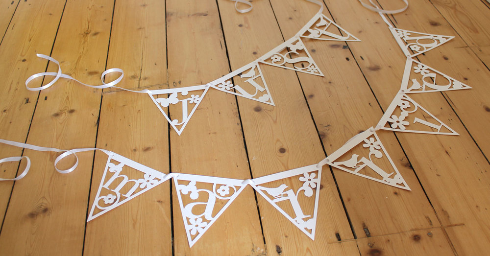 'just married' papercut bunting from Studio Seed
