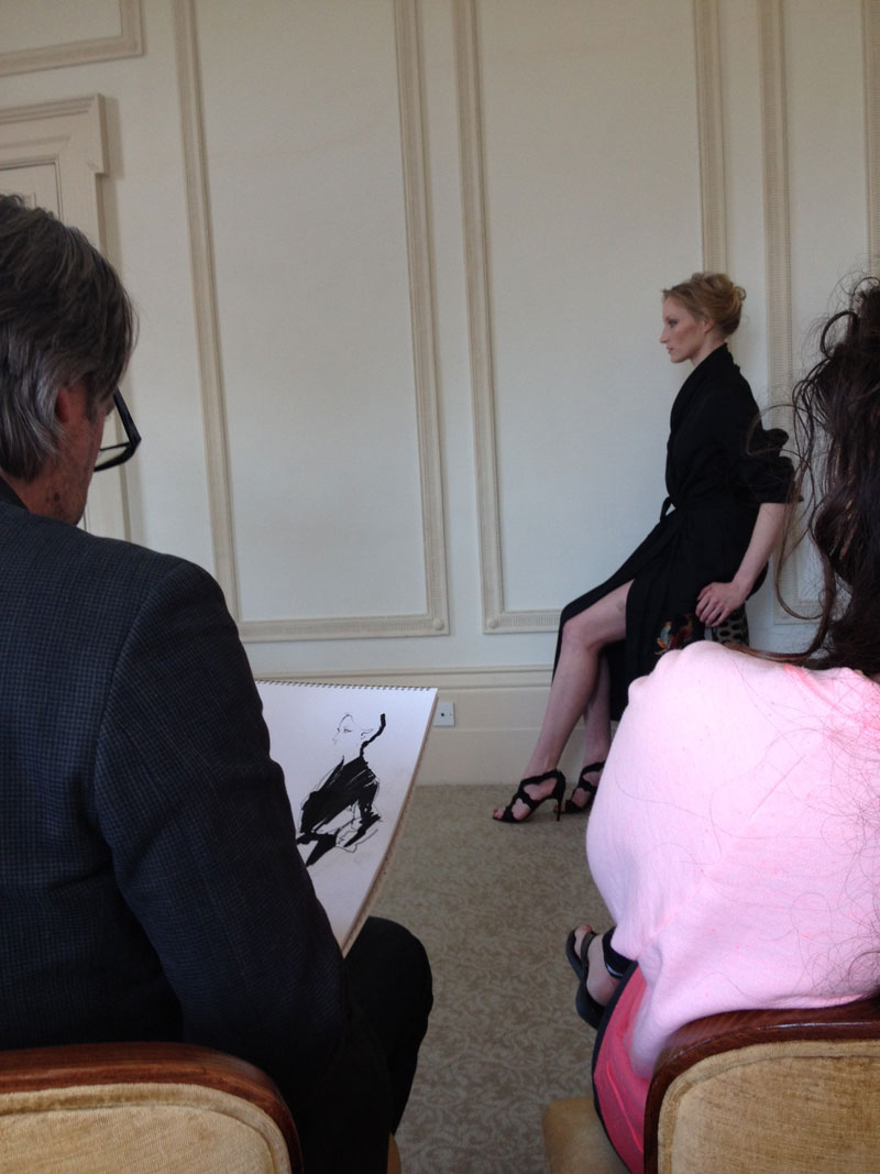 David Downton at work drawing Jade Parfitt