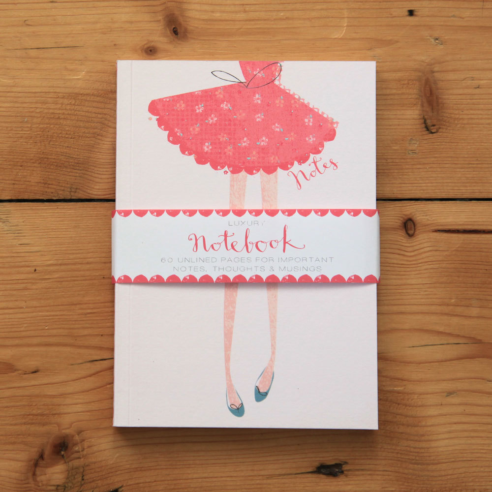 Fashionista - pink dress notebook