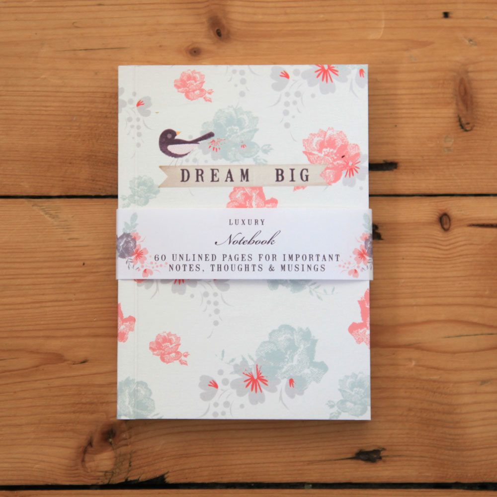 Fly Away - dream big floral notebook
