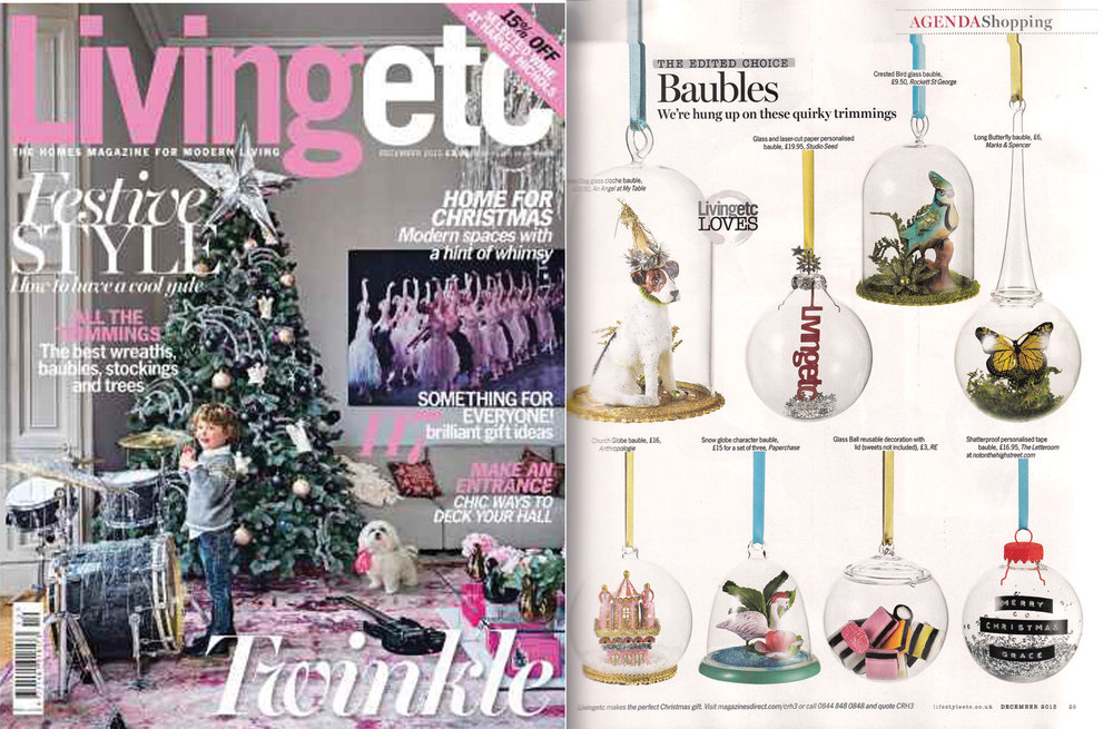 LIVING ETC MAGAZINE, December 2013 Studio Seed's Personalised Papercut Bauble featured in the Shopping Edit.