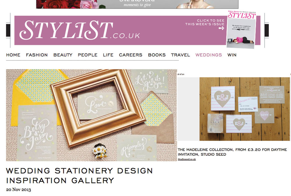 STYLIST MAGAZINE ONLINE, November 2013 Studio Seed's 'Madeleine' collection featured in the Wedding Stationery Design Inspiration Gallery.