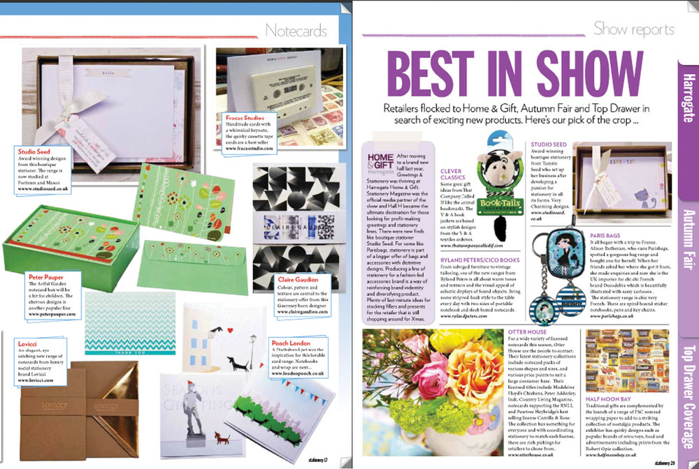 STATIONERY MAGAZINE, October/November 2013 Studio Seed boxed notecards selected as 'top picks' and 'best in show' in the 2013 Show Report.