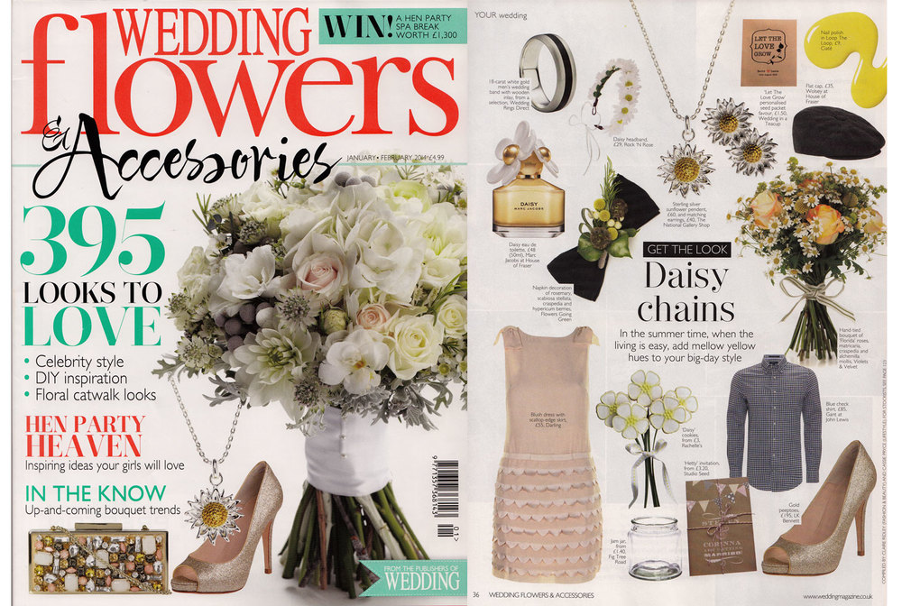WEDDING FLOWERS & ACCSSORIES MAGAZINE, Jan/Feb 2014 Studio Seed 'Hetty' wedding stationery features in 'Get the Look' edit.