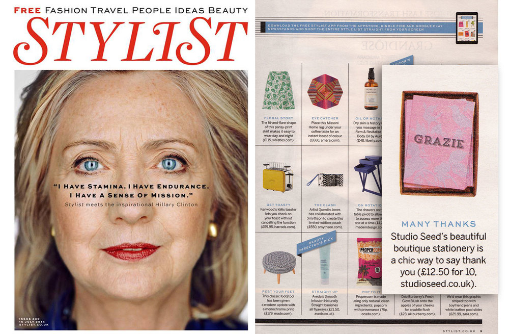 STYLIST MAGAZINE, Issue 230 July 2014 Studio Seed's 'Grazie' notecards featured in The Style List