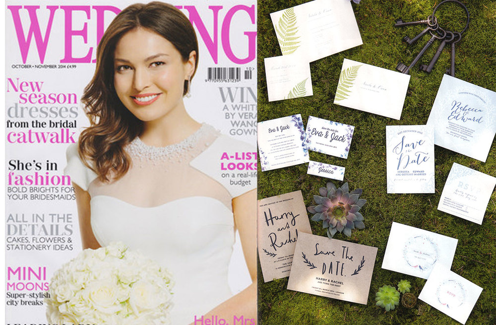 WEDDING MAGAZINE, October/November 2014 Our 'Sarah' Wedding Invitation and RSVP Card features in the 'Secret Garden' shoot.