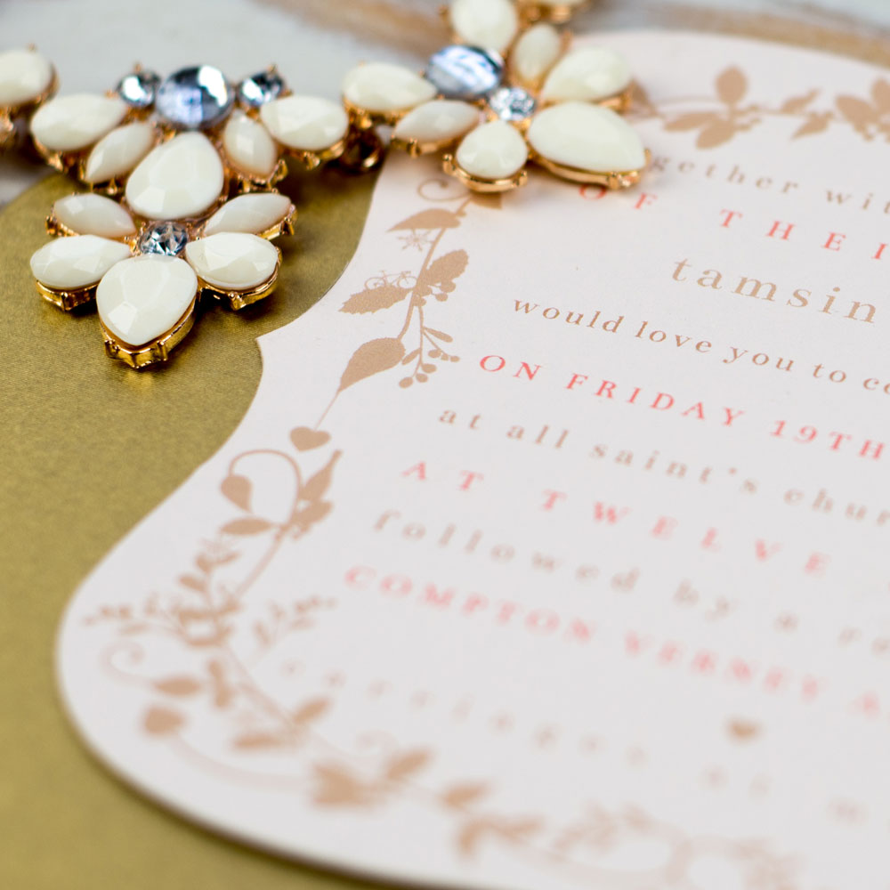 Die cut, duplexed invitation card detail. Photo by Holly Booth
