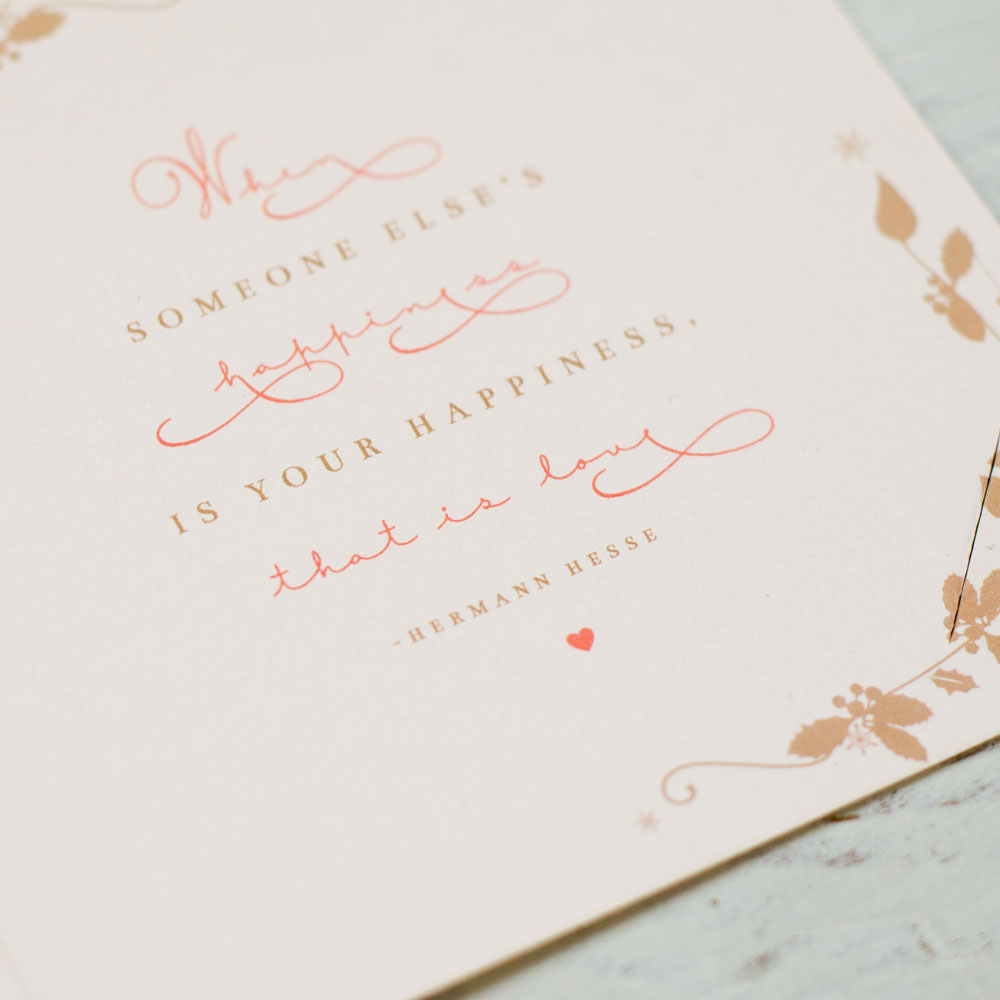 Quote detail, hidden under the RSVP card. Photo by Holly Booth
