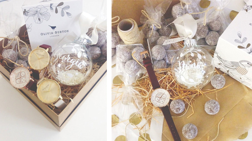Our baubles alongside the 'Winter Wonderland' themed goodie boxes! Image courtesy of Olivia Burton London.