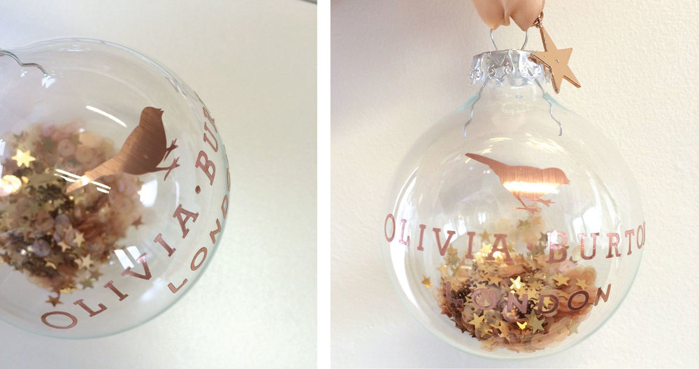 The copper & rose gold Olivia Burton branded bauble we recently worked on.