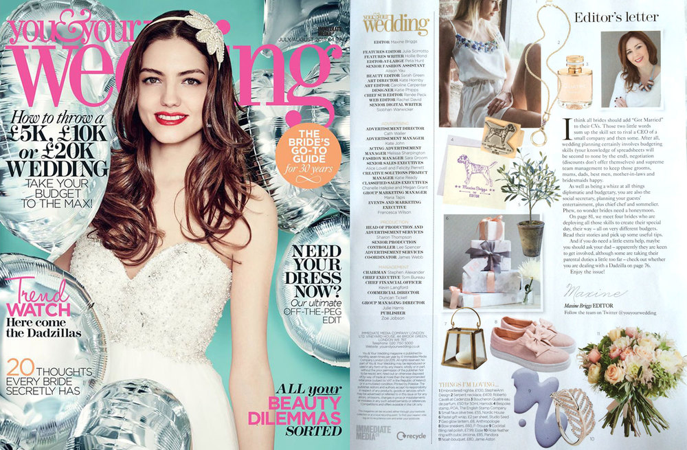 "YOU & YOUR WEDDING MAGAZINE, July/August 2015 Studio Seed Pastel Giftwrap sheets features in the Editor's 'This Month I'm Loving..."" round up."
