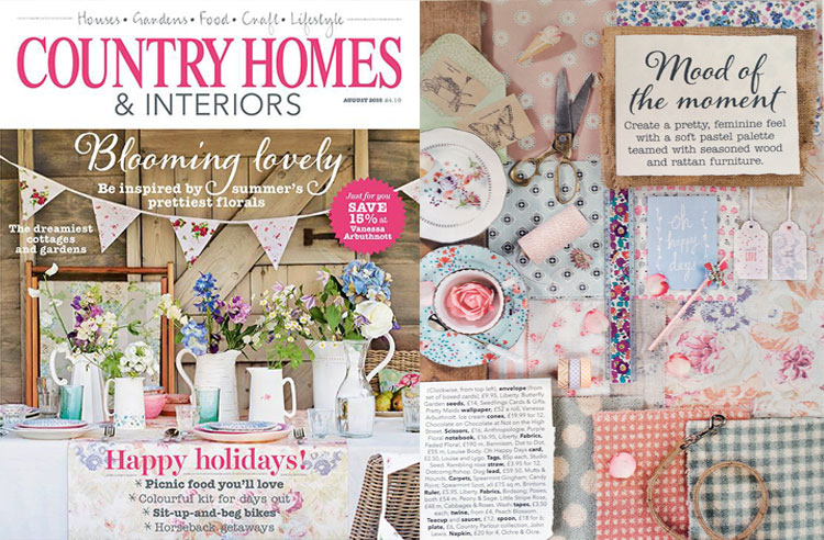 COUNTRY HOMES & INTERIORS MAGAZINE, August 2015 Our pastel Gift Tags featured in the 'Mood of the Moment' section.