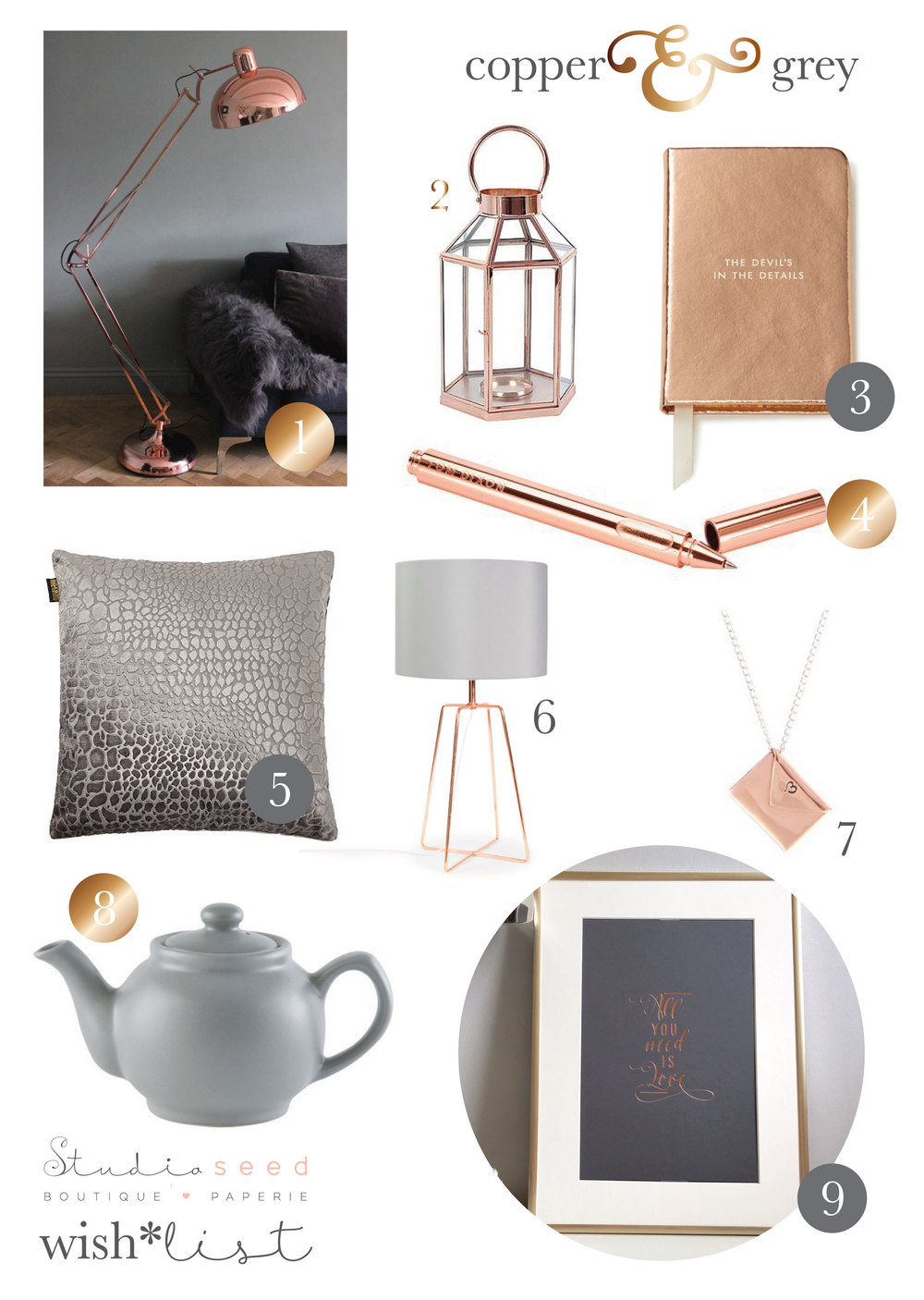 Copper and Grey wish*list by Studio Seed