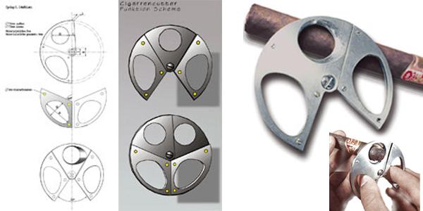 """Zigarrenschere """"Cyclop""""  Ein edles Accessoire und eine runde Sache, entwickelt in Zusammenarbeit mit der Solinger Firma Donatus. Die runde Schere ist aus Edelstahl gefertigt. Die Oberfläche ist mit Hilfe der Kugelstrahltechnik satiniert."""