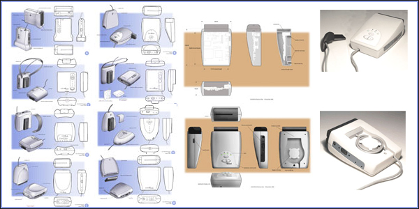 Entwicklung eines Elektronikgehäuses  Das innovative Projekt diente der Visualisierung möglicher Stylings einer portablen Steuerungseinheit zur Vernetzung von digitalen Bilddaten mit einem Projektionsmodul, wie es im Bereich der Augmented Reality angewandt wird.