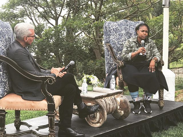 Dr. Drew in conversation with Rodney King's daughter, Lora King. Such a powerful moment at The Human Gathering.