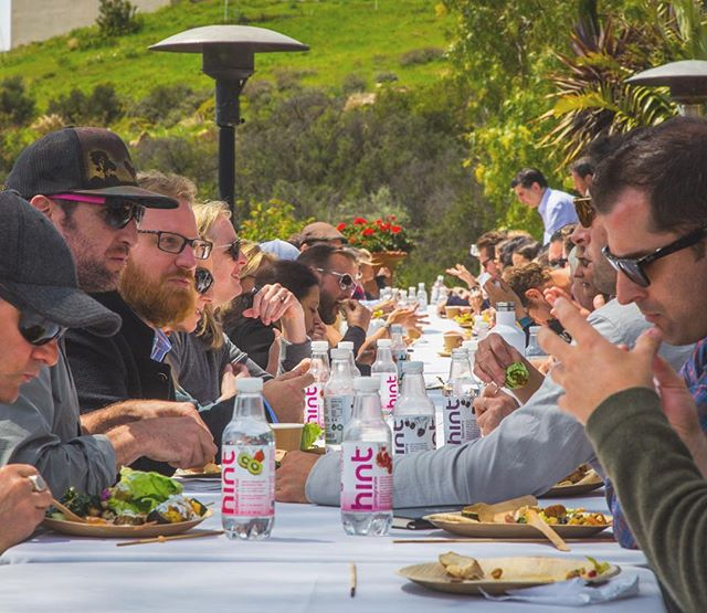 Lunch at The Human Gathering, in Malibu. HUGE thanks to Beverly Hills Premier Catering for proving such delicious and nutritious food!!! And a MASSIVE thanks to Hint Water and Kara Goldin for keeping everyone hydrated and happy!!!