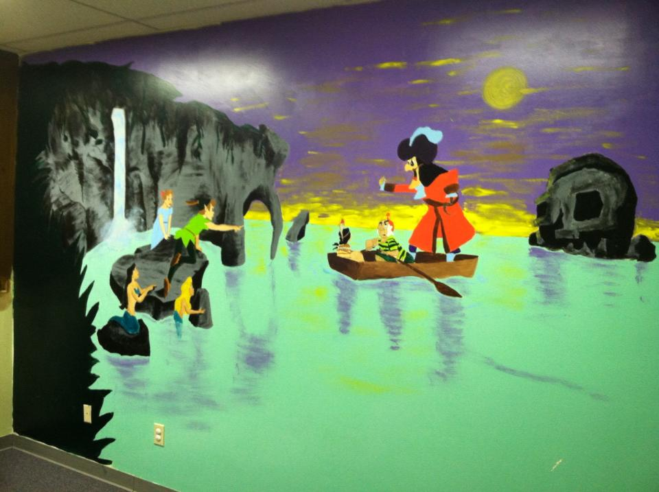 Peter Pan/Captain Hook Mural-Main Wall    House/Acrylic Paint    For The Independence Place and Melanie Hansen    Greensboro, NC