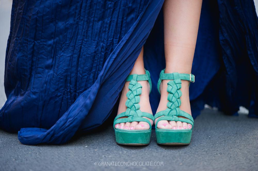 vestido boda noche, azul, primavera, zapato boda