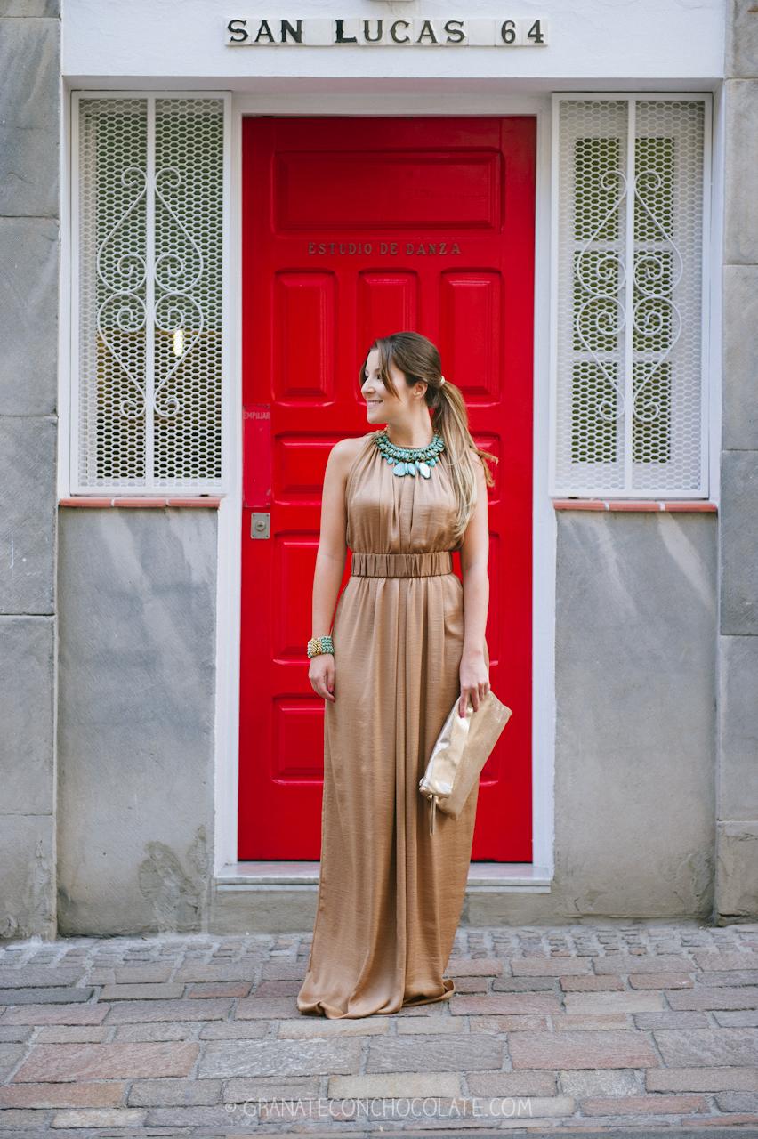 vestido boda camel collar maxi azul agua