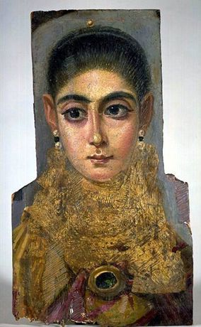 Fayum Funeral Portrait, Mummy Portrait of a Woman, Antinoopolis, End of the Reign of Trajan, 98-117 A.D., Wax portrait on wood
