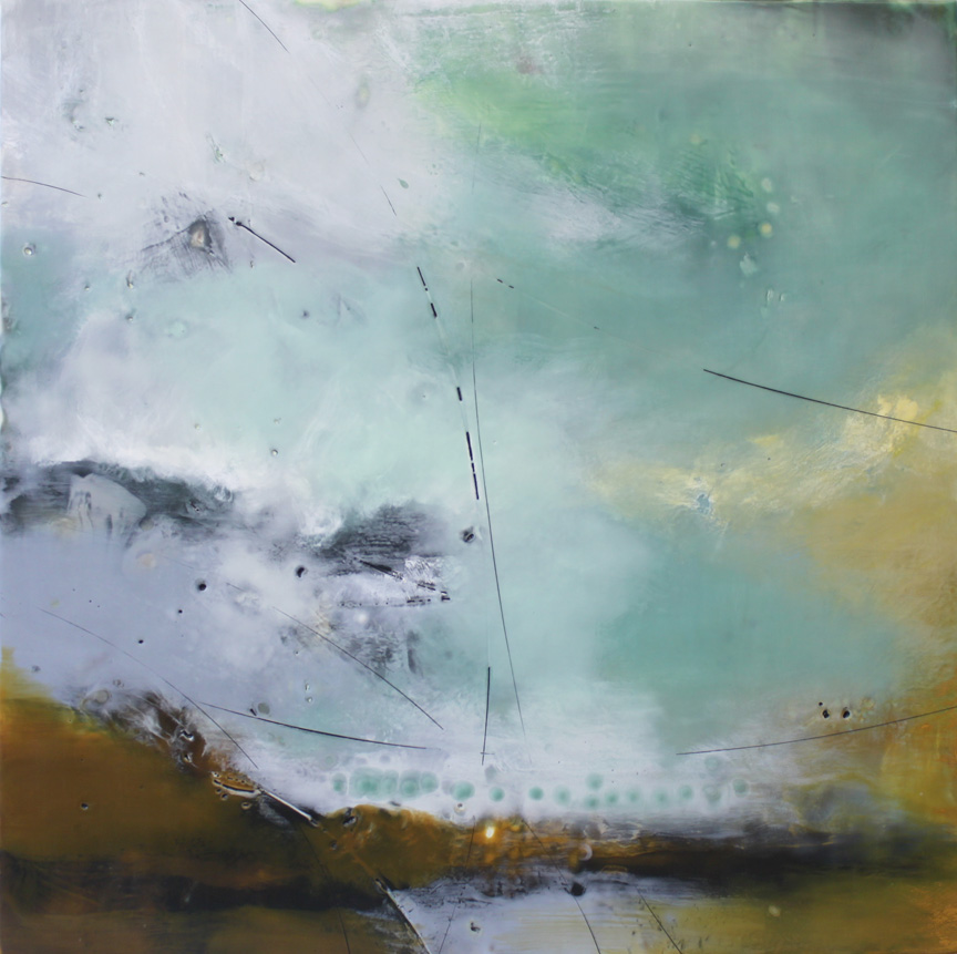 "Aqua Meeting Ochre  :: 30"" x 30"""