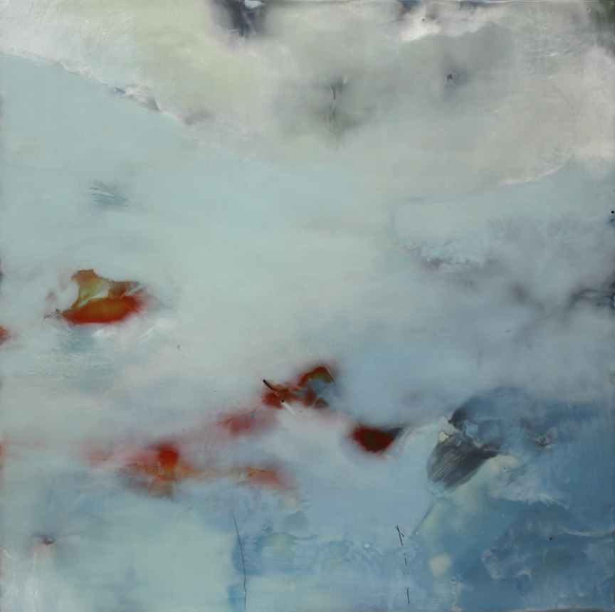 "Quiet Introduction  :: 30"" x 30"" :: encaustic on panel :: 2014"