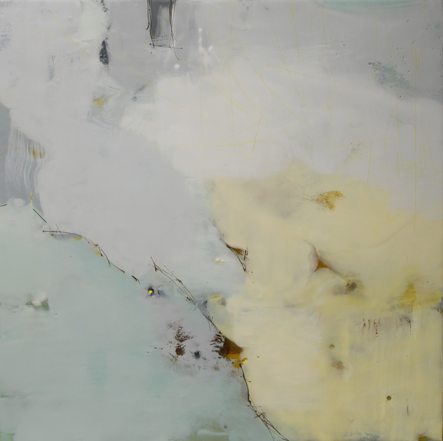 "Inhaling the Quiet  :: 30"" x 30"" :: encaustic :: 2014"