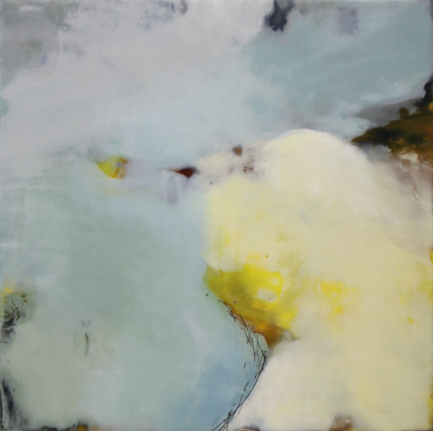 "Quiet Shadows  :: 30"" x30"" :: encaustic"