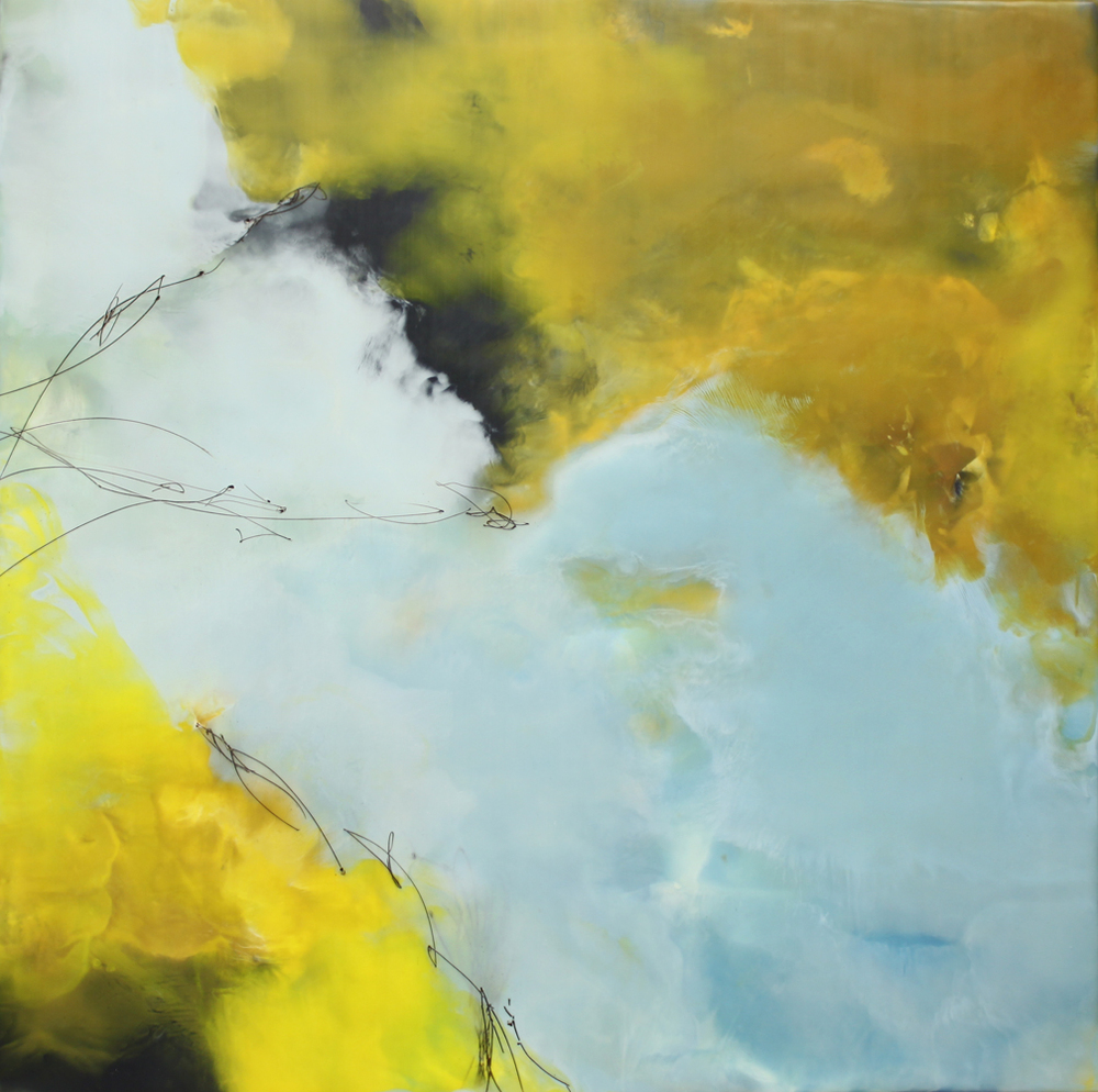 "Beginning at the Middle :: 30"" x 30"" :: encaustic :: 2016"