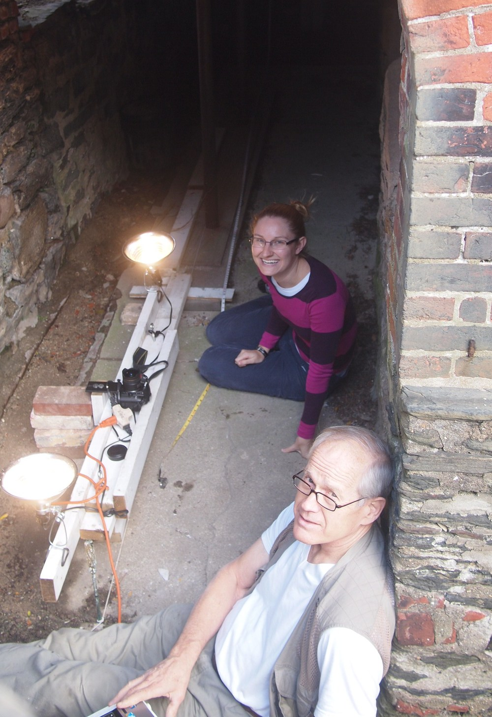 Mark and Beth creating a photographic survey of the cryptoporticus ceiling.