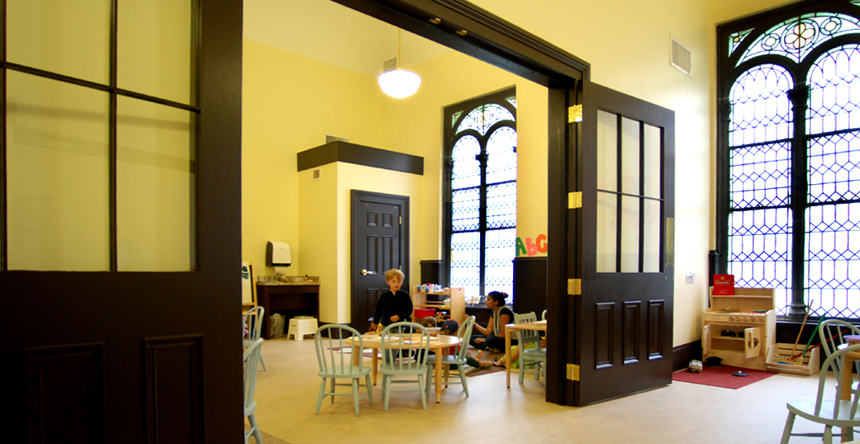 MBTA designed the new Arch Street Preschool, which took advantage of an unused space on the second floor, including high ceilings, tall windows, skylights and existing millwork, salvaging and re-working historical fabric to provide a welcoming and well-lit space dedicated to early education for a diverse group of children and their families. The Preschool design includes a Common Room, food prep areas, office, classrooms and accessible restrooms for the children and staff.