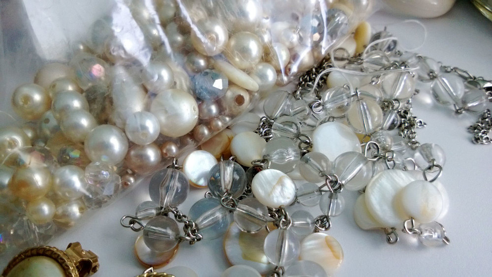 Pearls, pearls and more pearls.  Throw in some glass beads and silver and you have classic, quiet elegance.