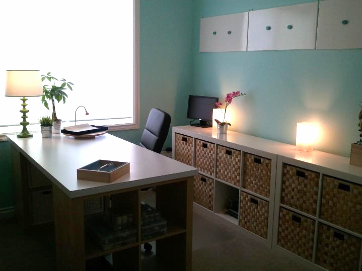 "Clean and freshly designed workroom from June 2012.  I painted, assembled, installed and repurposed  a ""bonus room"" in our home."