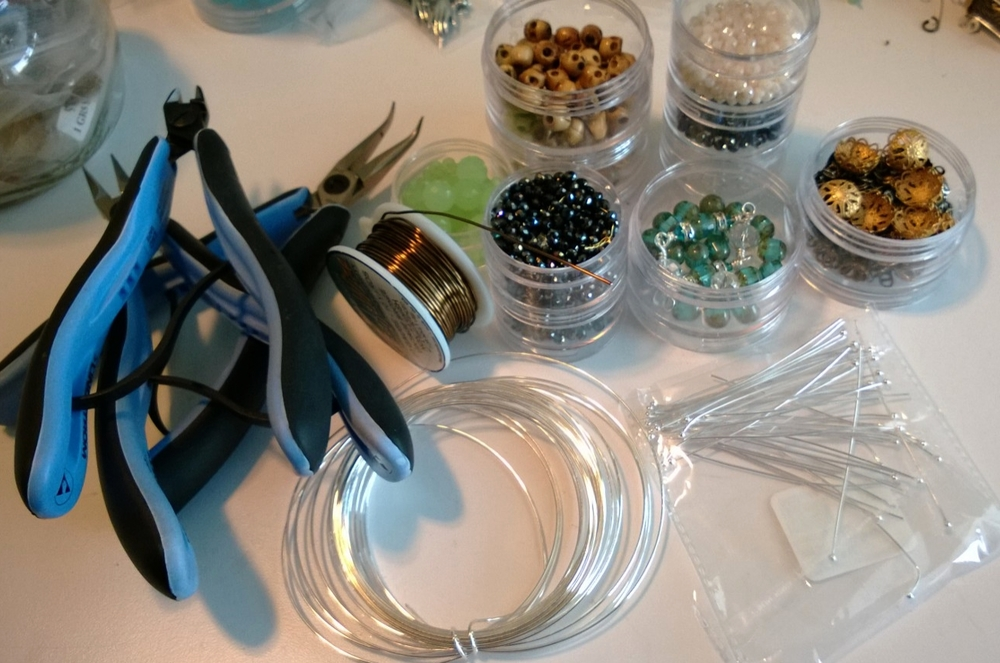 Stuff used for the lanterns:  Pliers, wire, beads, headpins, bead caps.