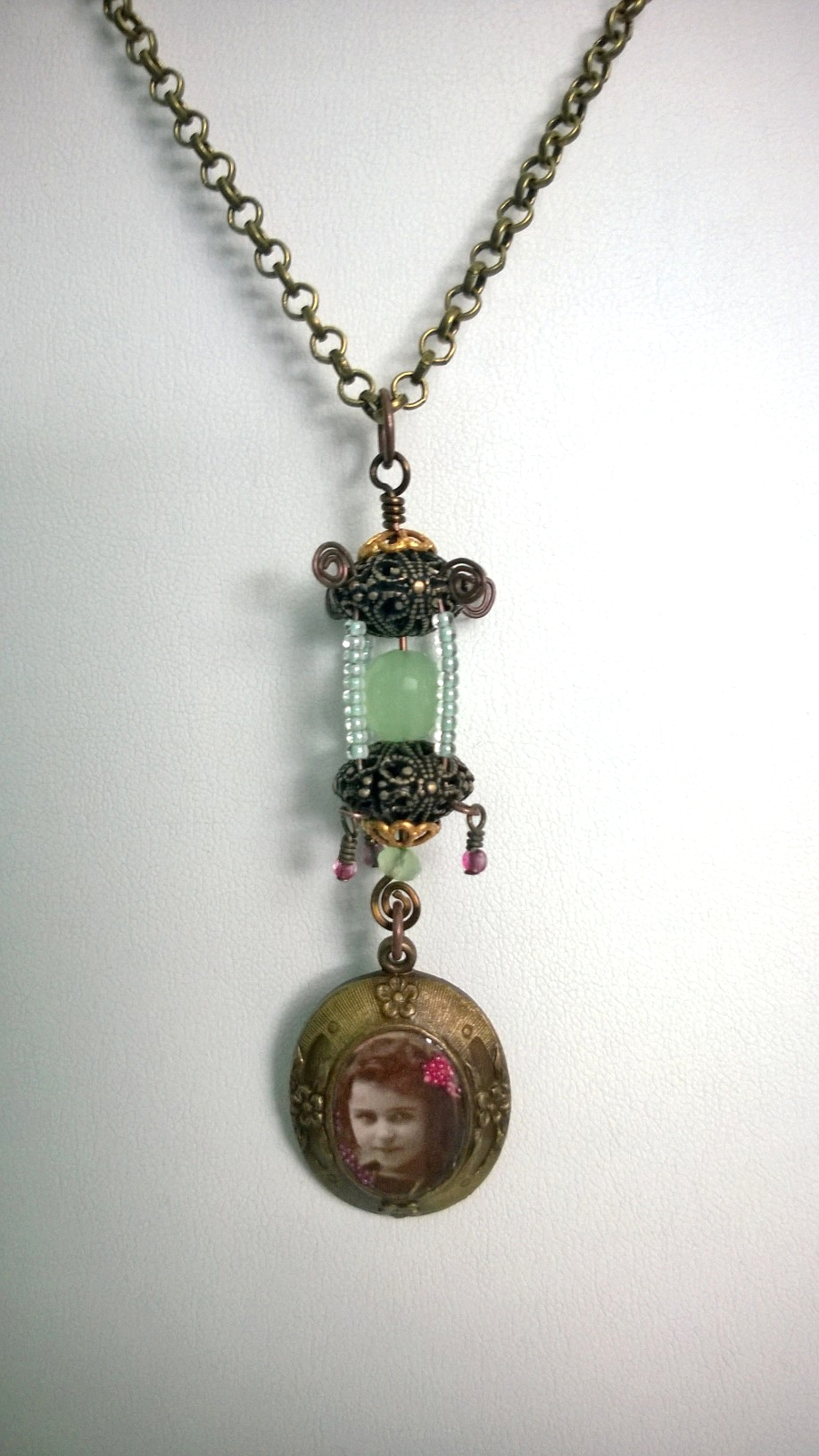 Victorian cameo with seed bead lantern.