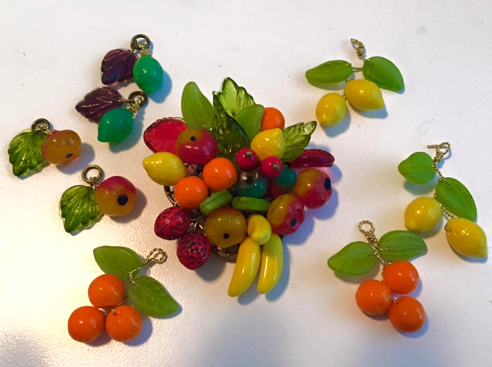 I'm not sure why, but I immediately thought of fruit jewelry as a natural compliment to this style. I've had a ball doing a bit of cage work to make these Czech glass beauties. What will they become? Not sure just yet. :)