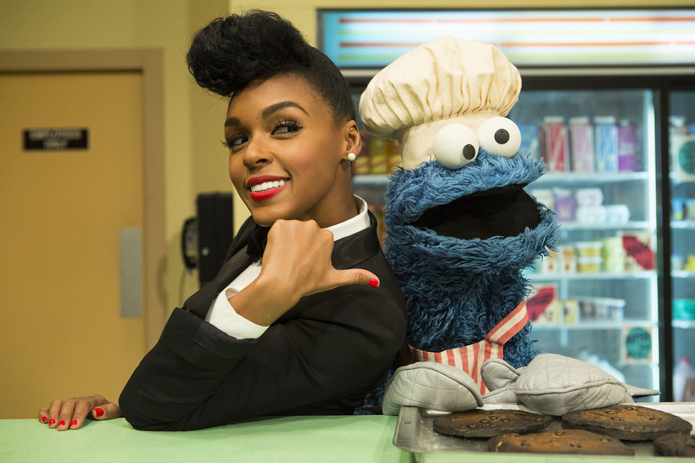 Janelle Monae performs on Sesame Street