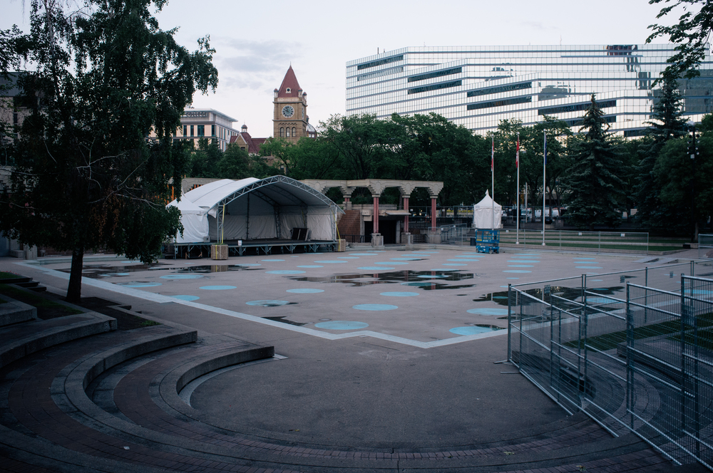 Olympic Plaza, within the downtown evacuation zone, with stage setting for the flood-cancelled Sled Island music festival.