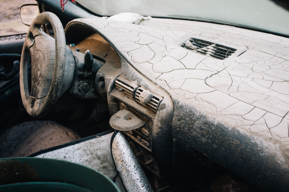 The interior of a car on Bow Crescent. Bowness.