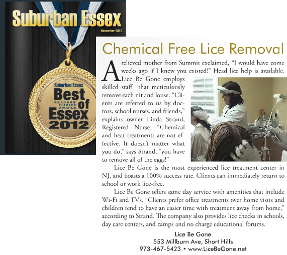 Article about Lice Be Gone in the November 2012 issue of Suburban Essex Magazine