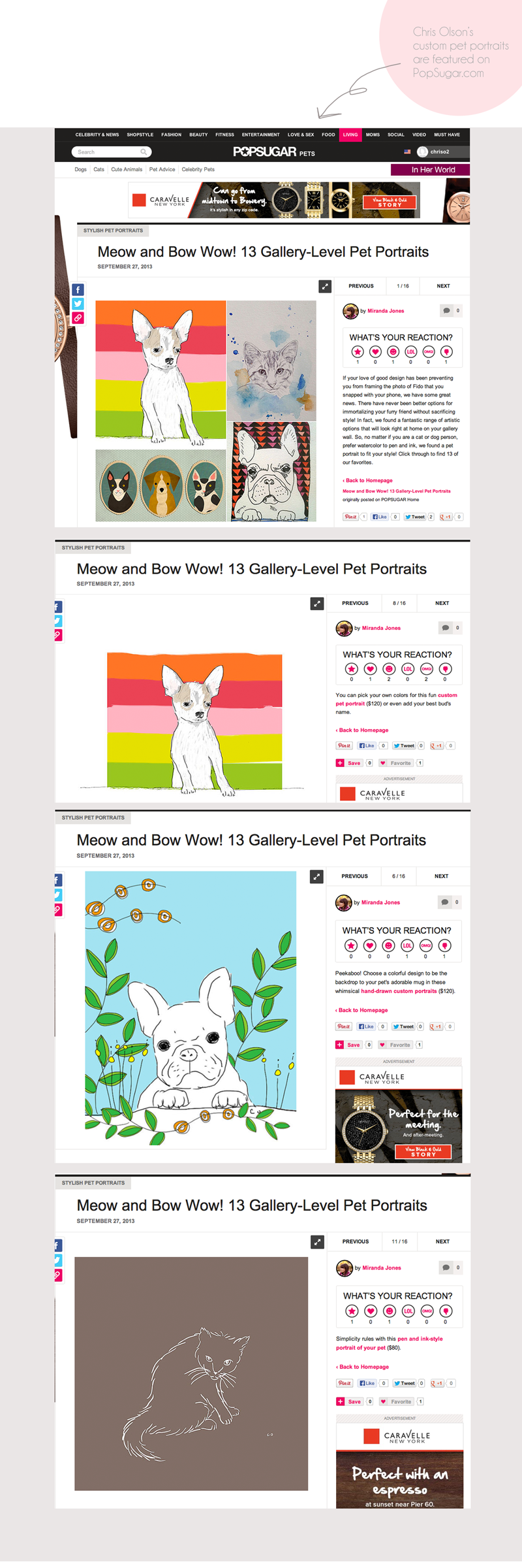 Chris Olson's custom pet portraits featured on PopSugar.com.