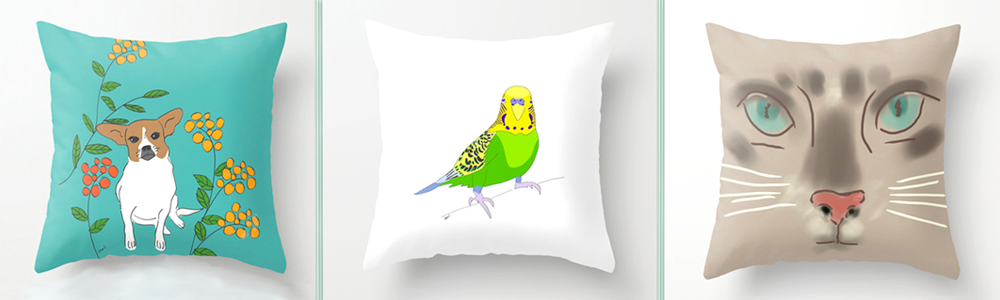 Animal art on pillows