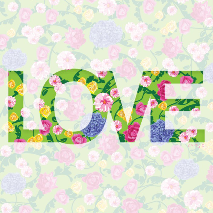 Love Typography Art and Cheerful Flora by Chris Olson