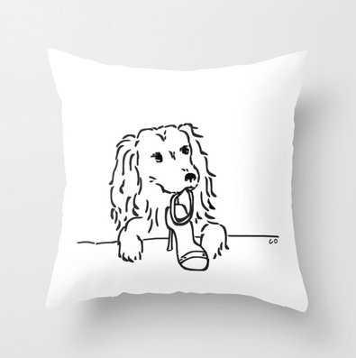 """City Dogs {Shoe Diva}Throw Pillow:This Cocker Spaniel could be named Carrie. She loves her Jimmy Choo sandals. Original artwork by me, Chris Olson. Available in three sizes 16""""x16"""" shown here and, 18""""x18"""" and 20""""x20""""."""